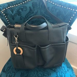 Skip Hop gray leather diaper bag